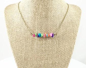 Rainbow Gemstone Necklace Rainbow Bead Necklace Stone Bead Necklace Colorful Jewelry Rainbow Jewelry Inspirational Jewelry Encouragment Gift