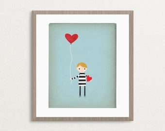 Love Is In The Air - Boy Version - Customizable 8x10 Archival Art Print