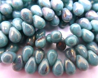 NEW Color  100 Czech Glass Tiny Tear Drop Beads in a Opaque Turqoise Luster with a Pink/Topaz Picasso Finish Size 4x6mm