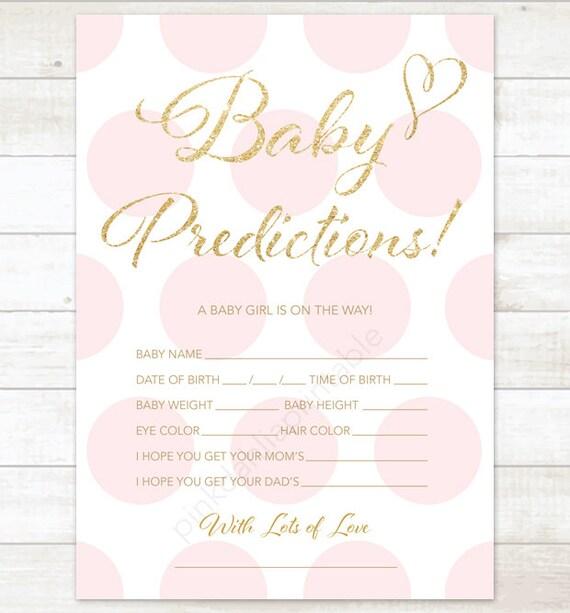 Good Baby Prediction Card Pink Polka Dots Baby Shower Game DIY Pink Gold Baby  Girl Digital Shower Games   INSTANT DOWNLOAD