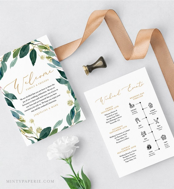 Welcome Letter & Itinerary, Wedding Timeline, Order of Events, Agenda, INSTANT DOWNLOAD, 100% Editable, Boho Greenery Wreath #044-113WB