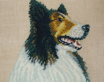 Tricolor Collie Dog Needlepoint Portrait, Preworked Canvas, 18 x 18 Inches, Wall Hanging or Pillow, Fiber Art Collie in Profile