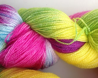 Wine Gums hand-dyed yarn, Lace weight, BFL/Silk 55/45%, 100 grams, 800 metres