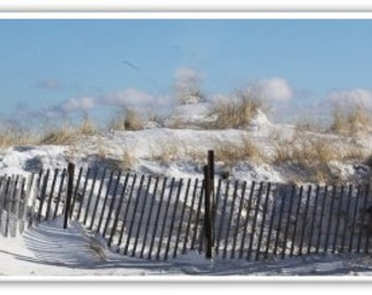Iphone Case , Fine Art Photography, iPhone 4/4s and iPhone 5,5s, iPhone 6,  Cape Cod in Winter, Sand Dunes Snow Sea Fence