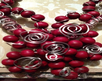 Beautiful Burgandy ~ Red One Of A Kind Wooden And Silver Scroll  Necklace