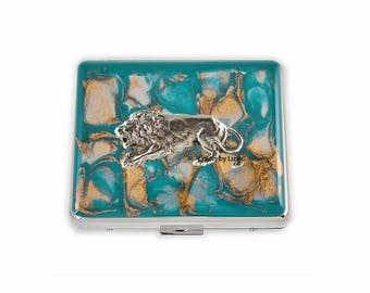 Crouching Lion Weekly Pill Box Hand Painted Enamel Teal and Gold Quartz Inspired with Personalized and Color Options