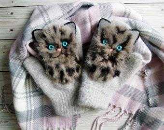 Catmittens/ cat mittens grey handmade Kitten Mittens, Crochet Mittens The Cat,Hand Crocheted Mittens  animals warm mittens with fur