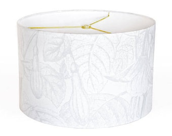 14 Inch  - READY TO SHIP - Gray and White Jungle Whisper Linen Lamp Shade -  Drum Fuchsia Botanical Lampshade - Sample Sale