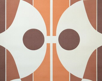 Retro Wallpaper by the Yard 70s Vintage Wallpaper - 1970s Mod Orange Brown and White Pop Art Geometric and Stripe