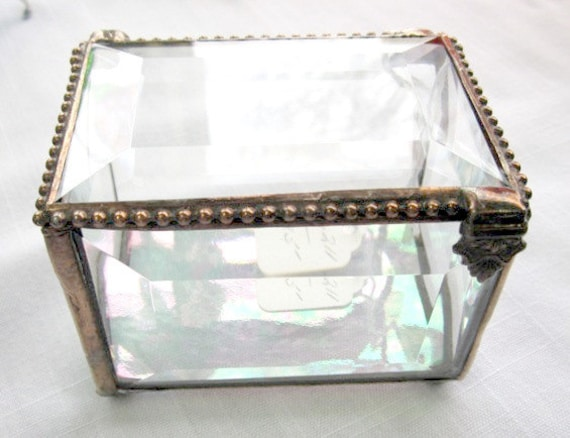 Glass Box Beveled Glass Jewelry Box Stained Glass Ring Bearer