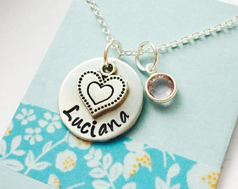 little Girls Name Necklace, Personalized Name Necklace, Hand Stamped Name Necklace, Custom Name Necklace, Heart Charm Necklace
