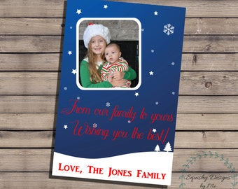 Christmas Cards Personalized with Photos, Happy Holidays Greeting Cards, Merry Christmas Christmas Card With Photos, Printable, Digital File