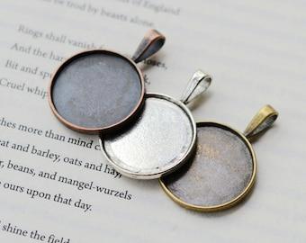 10 Anhänger Tabletts - 25mm Runde Lünette Tasse Cabochon Halterungen, 3 Farben-Antik Silber, Antik Bronze, Antik Kupfer als Ihrer Wahl