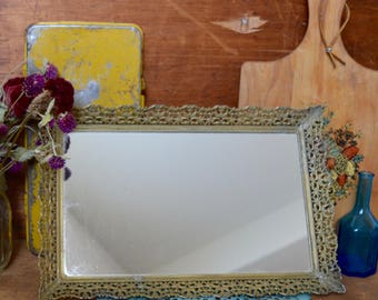 Vintage Vanity Mirror Tray with Gold Color Metal Frame Decor Rectangle Sitting