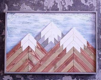 Rustic Mountain Tops Reclaimed Wood Wall Art Wood Mountains Mountain Wood Wall Art Handmade Mountains Reclaimed Lath Art Wood mountain snow