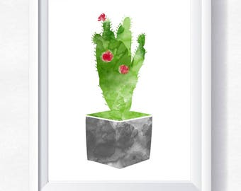Cactus impression Cactus imprimable Cactus aquarelle art mural de Cactus Cactus imprimable Botanique affiche cactus impression Cactus affiche Cactus téléchargement