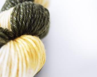 """Hand Dyed Yarn Superwash Merino . Worsted . 243 yards . """"Lemonsquash 1"""" . Shades of Green and Yellow"""