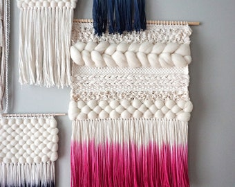 "24"" Woven Wall Hanging | Pink Dip-dyed Weaving"