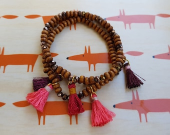 3 elastic bracelets - wooden beads and tassels - handmade