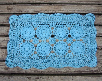 Blue Vintage Lace Runner/Doily - turquoise - Hand Dyed