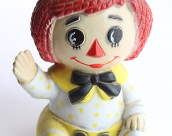 Vintage Raggedy Andy Polyceramic Vase - Flower Floral 70s Cute Kids Collectible Doll
