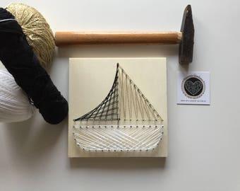 Sailboat kit in string art, DIY string art kit, Easy tutorial in string art, Home decoration
