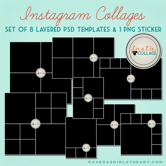 Instagram Layered Psd Collage Templates 3x4 4x4 4x6 And