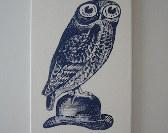 Owl on Bowler Hat silk screened canvas wall hanging 18x12 NAVY