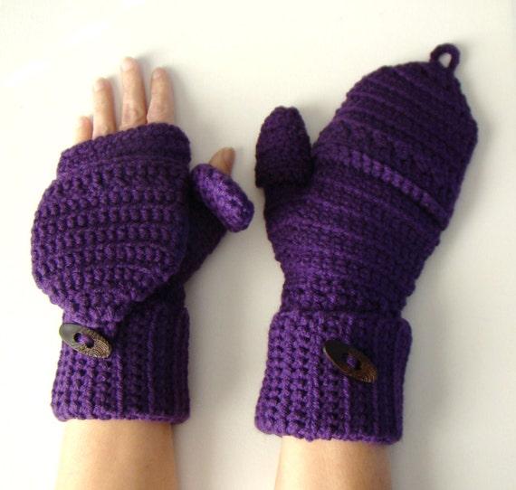 Guantes púrpura ciruela Convertible mitones sin dedos