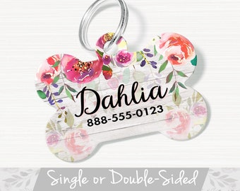 Floral Dog Tag for Dog, ID Tag Floral, Floral Pet ID Tag, Personalized Pet Tag, Double Sided Dog Tag For Girl, Pink White Floral Pet Tag