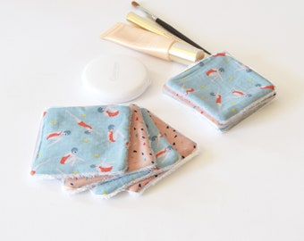 7 washable wipes, cleansing wipes, blue, reusable wipes, zero waste, floral wipes, for her, girlfriend gift, reusable make up remover pads