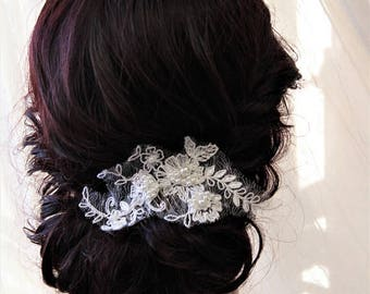 Wedding Hair piece, Bridal Hair comb , Bridal Headpiece, Wedding Hair comb,Blush Champagne  Lace Headpiece , Ivory Hair Flower, Navy , UK