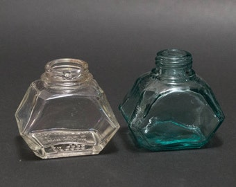 Vintage ink bottle set of 2 edgy bottles clear glass aqua glass Watermans ink rustic decor small vases home decor