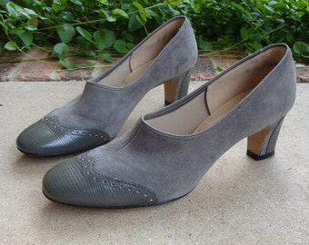 Fall Gray Suede and Leather Spectators Wingtip Pumps 7 AA Narrow
