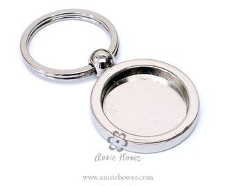 Circle Shape Aanraku Photo Key Ring Keychain. Create your own custom image key chain. 1 Inch Circle Center without Glass.