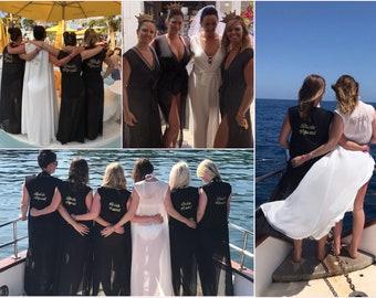 Personalised Sleeveless Hen Do Cover Up Kaftan/Kimono Bride To Be, Bridal, Bridesmaid, Black, White