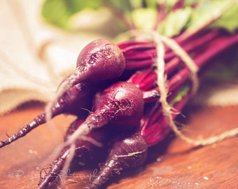 Food Photography - Kitchen Art - Red Beets Photograph - Dining Room Decor - Fine Art Photography Print - Green Red Brown Kitchen Decor