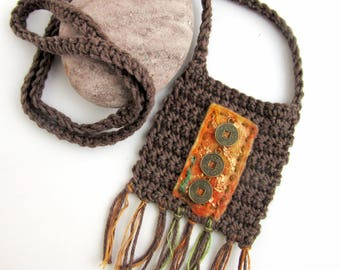 Long Tribal Style Necklace - Crochet Woven Pendant - The Three Fates
