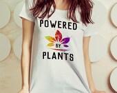 Vegan T-Shirt, Womens Tee, Vegetarian Tee, Powered by Plans, Watercolor Art Tshirt, Vegan gifts, Vegetarian girl, Vegan Women's t-shirts
