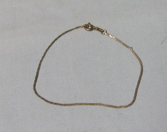 "Sterling Silver Chain Bracelet Fine Chain Marked 925 7.5"" Long"