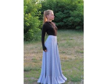 High waisted skirt Wool skirt Maxi skirt Boho skirt Ruffled skirt Long skirt A-line skirt Gift for women Knit skirt Blue skirt Flared skirt
