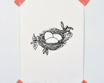 Nest (drawing in thread)- Letterpressed Print
