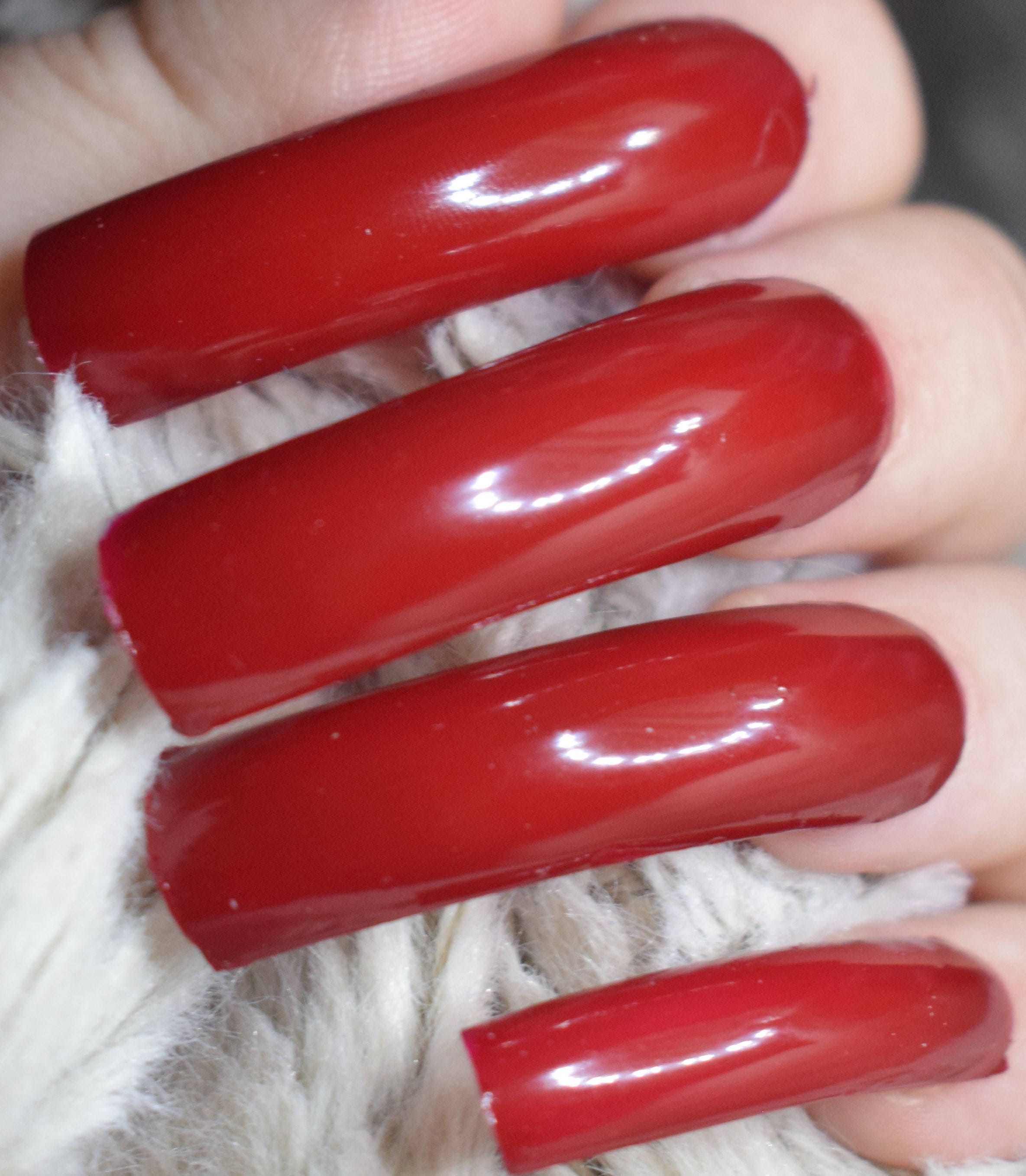 Red Fake Nails, Extra Long Curved False Nails, Hand Painted Nails ...