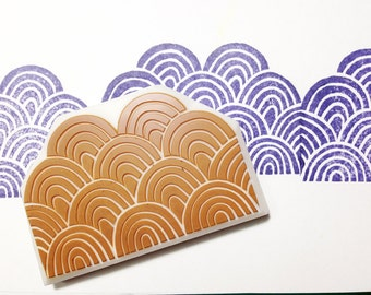 ocean wave rubber stamp | graphic pattern | card making | fabric stamping | summer holiday crafts | hand carved by talktothesun