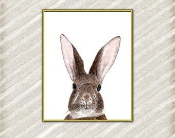 "Forest animal prints: ""RABBIT DIGITAL PRINT"" watercolor animals Woodlands Animal Print Nursery Animal Wall Art Printable Rabbit Wall Art"
