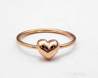 Heart gold ring-14k solid rose gold-Stacking ring-Women jewelry-Women ring.