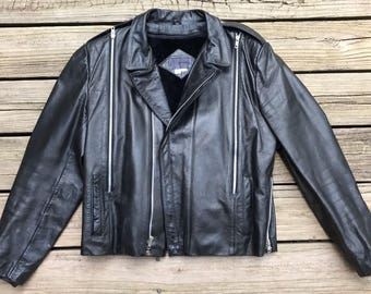 SEA DREAM Thermolite Insulated Brown Leather Biker Motorcycle Jacket Men's XS tWbJjjZ