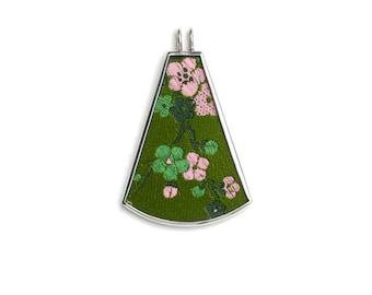 Blossoms on Green Silk Pendant by Shi Studio Size Medium