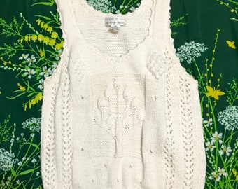 1990's White Sweater Tank Top