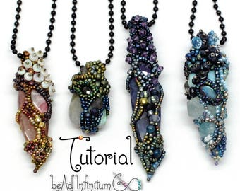 TUTORIAL Fairy Chrysalis Beaded Pendant made with Freeform Peyote and Right Angle Weave RAW